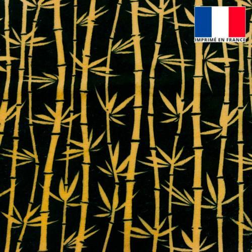 Eponge doudou bambou noire imprimée bambou or