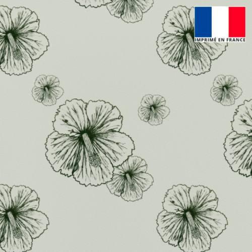 Tissu burlington gris clair imprimé fleur d'hibiscus