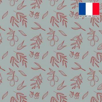 Tissu burlington gris imprimé olive rouge