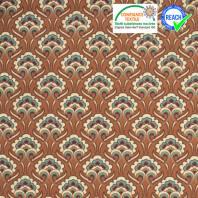 Coton marron fauve imprimé fleur sybille beige et verte