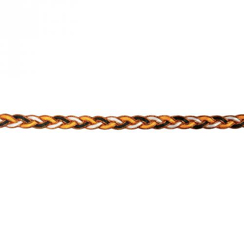 Galon fantaisie tressé 10mm noir blanc et orange métalisé