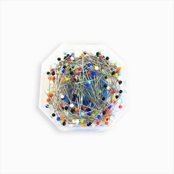 Epingles à tête de verre colorées boîte 20g