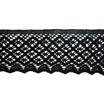 Ruban de dentelle en coton noir 8 cm