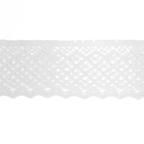 Ruban de dentelle en coton blanc 8 cm