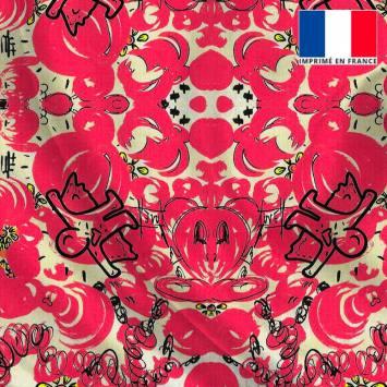 Satin jaune pastel motif pink storm - Anne-Sophie Dozoul