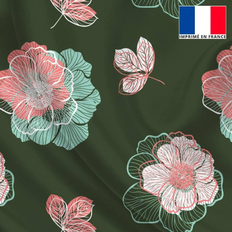 Satin vert forêt imprimé multi-fleurs