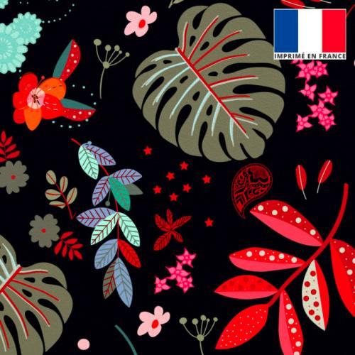 Velours noir motif feuilles rouges et vert-de-gris