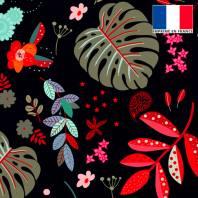 Velours ras noir motif feuilles rouges et vert-de-gris