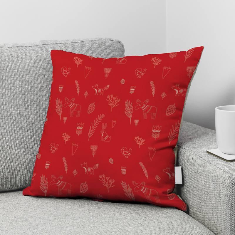 Velours ras rouge imprimé animaux de la forêt