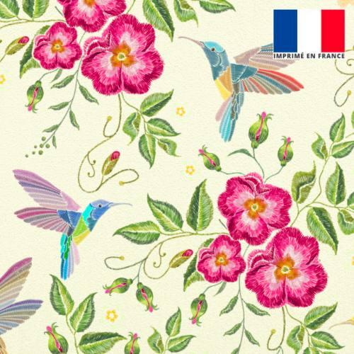 Velours écru motif fleurs roses effet brodé