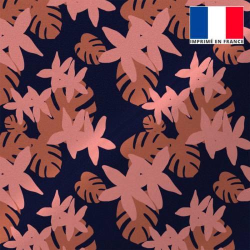 Tissu microfibre bleu marine motif flore tropicale orange et rose
