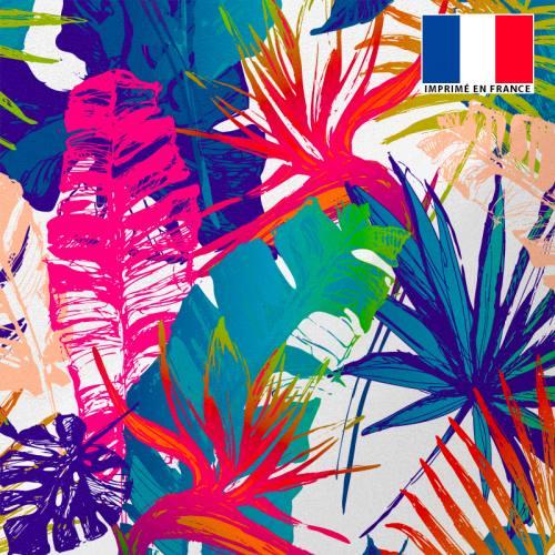 Tissu microfibre écru imprimé jungle abstrait rose et bleu