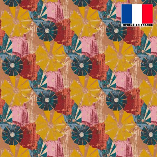 Mousseline crêpe motif rosace ethnique jaune rouge bleu