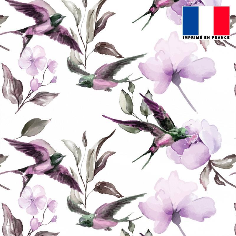 Mousseline écrue motif hirondelle violette
