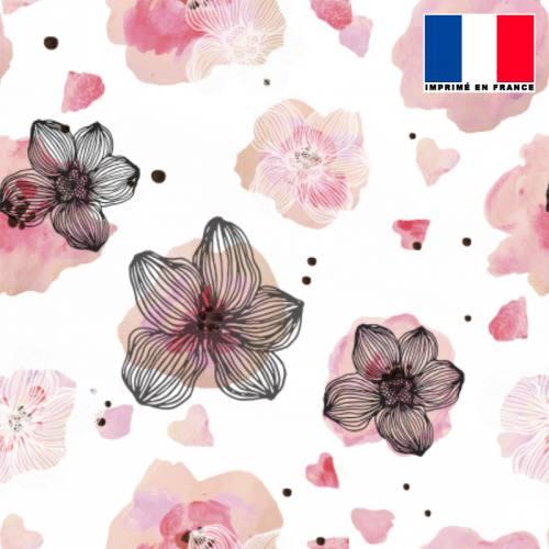 Mousseline crêpe écrue motif fleur aquarelle rose