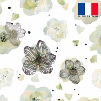 Mousseline écrue motif fleur aquarelle vert amande