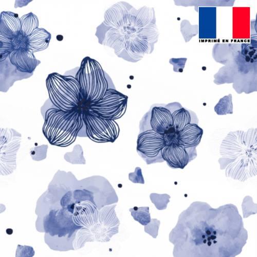 Mousseline crêpe écrue motif fleur aquarelle bleu lavande