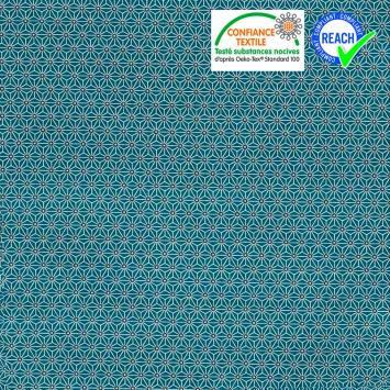 Coton bleu canard petit motif asanoha blanc