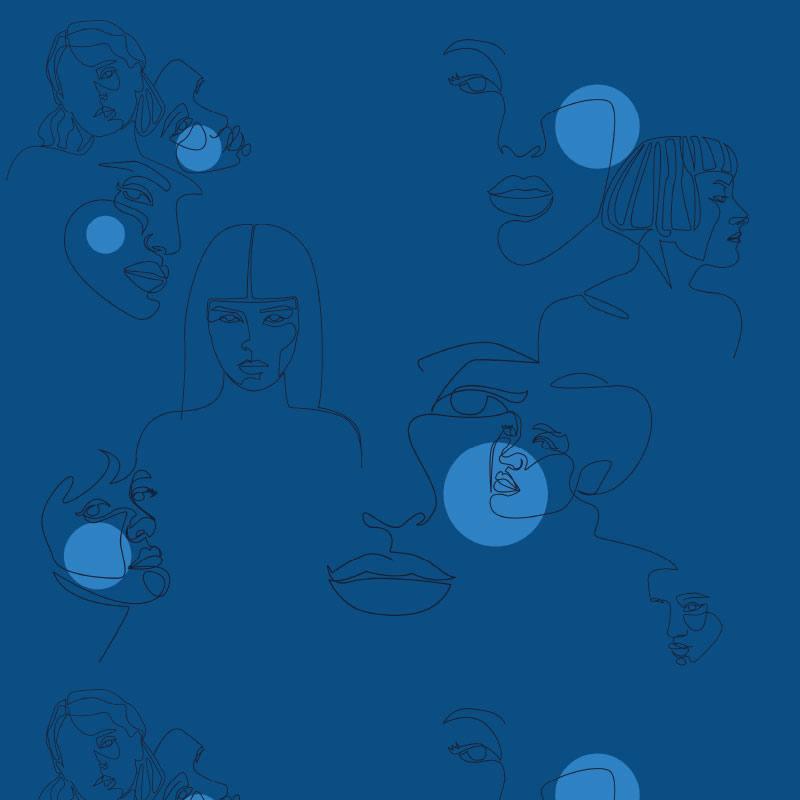 Maille scuba bleue motif visage bleu clair et bleu marine