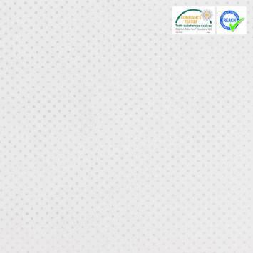coupon - Coupon 56cm - Coton blanc motif pois argent pisani