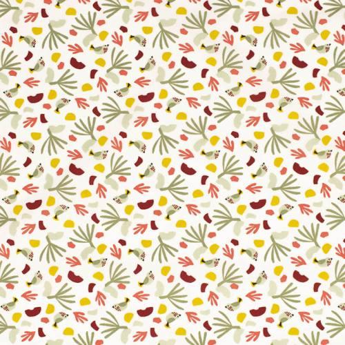Coton blanc motif oiseau vert d'eau et rose
