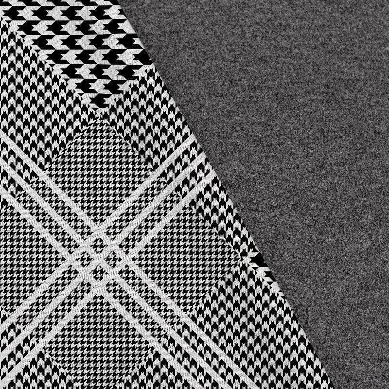 Tissu lainage caban motif carreaux pied de poule réversible