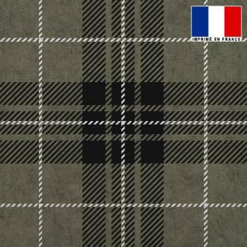Tissu lainage caban motif tartan vert et noir réversible