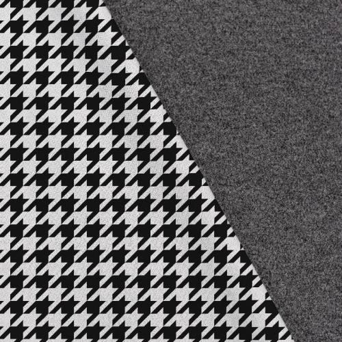 Tissu lainage caban motif grand pied de poule noir et blanc réversible