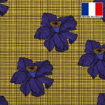 Tissu lainage caban motif wax jaune et bleu réversible gris