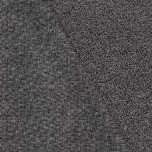 Tissu lainage caban motif effet tissé noir réversible gris