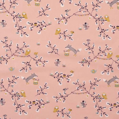 Coton rose motif renard branche et chouette