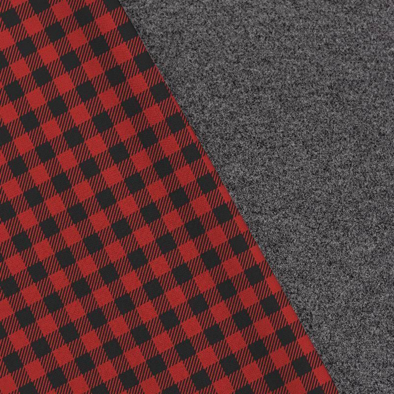 Tissu lainage caban motif vichy rouge et noir réversible gris