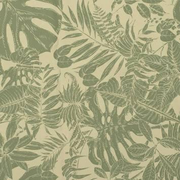 Tissu occultant grège motif jungle dessin vert sauge