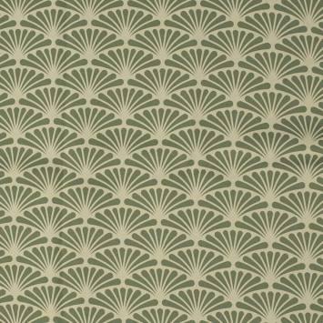Tissu occultant grège motif éventail pétale vert sauge