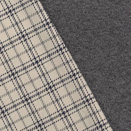 Tissu lainage caban motif tartan pied de poule crème réversible