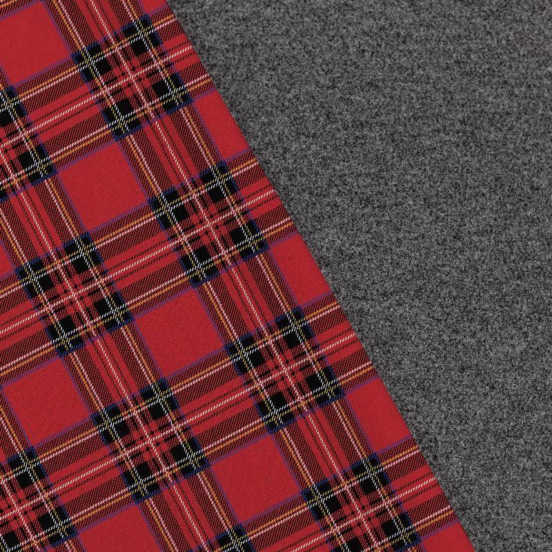 Tissu lainage caban motif tartan rouge et vert réversible gris