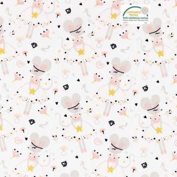 Jersey blanc motif souris ballerine corissou