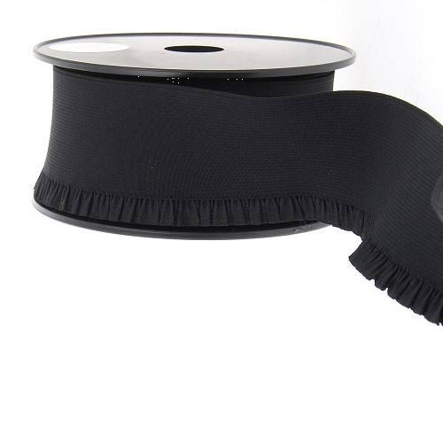 Elastique noir 60 mm bord côte pour jupe