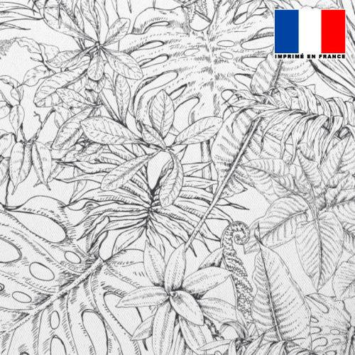 Tissu occultant écru motif jungle dessin