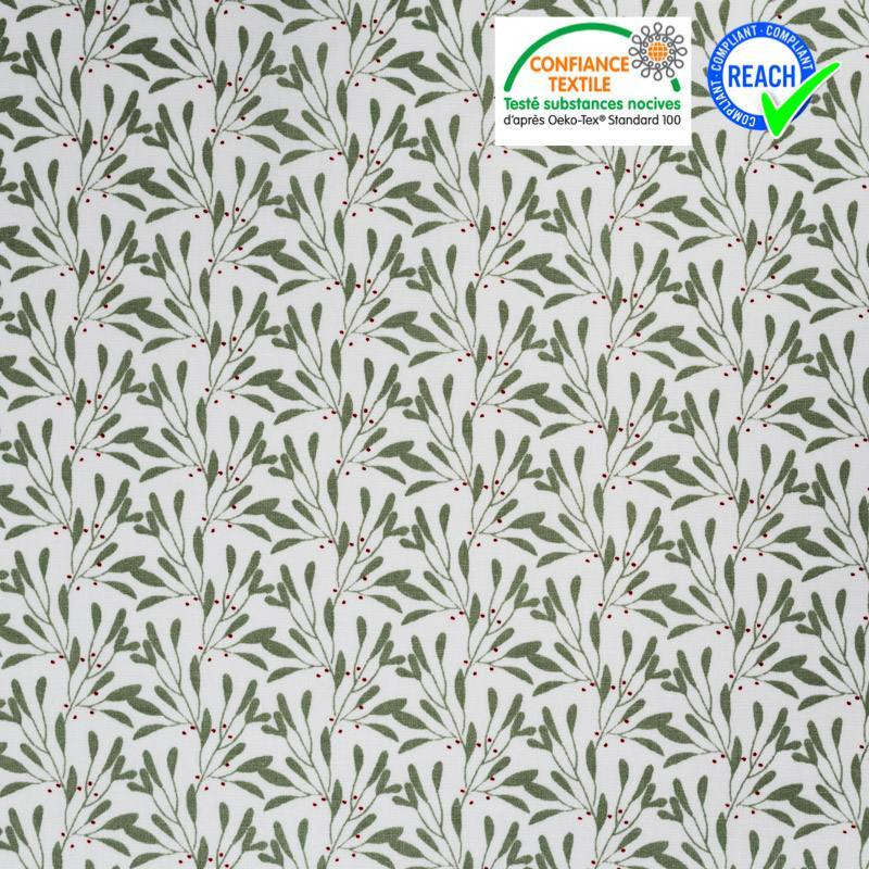 Coton blanc motif branches à feuilles vert céladon