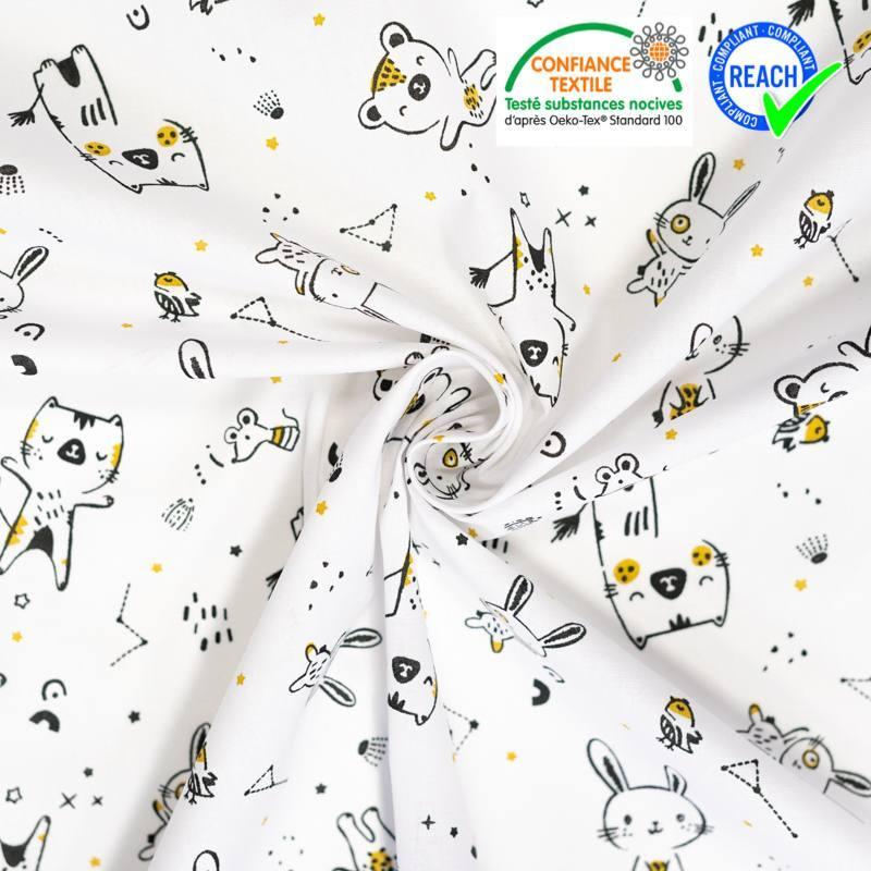 Coton blanc motif lapin et chat ocre wizy