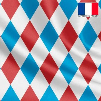 Tissu satiné blanc imprimé losange rouge et bleu