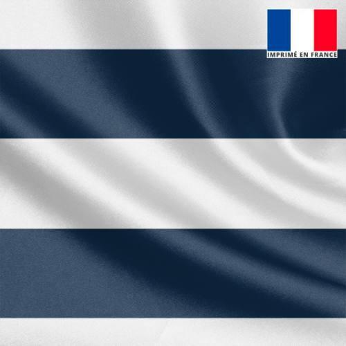 Tissu satiné imprimé rayé bleu et blanc