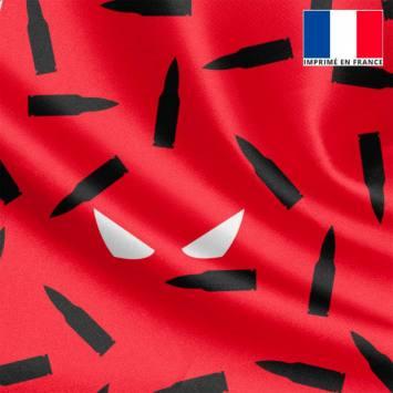 Satin rouge et noir imprimé masque