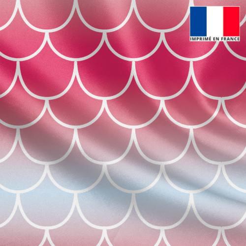 Satin imprimé écailles de sirène dégradées rose à bleu clair