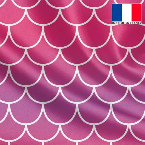 Satin imprimé écailles de sirène dégradées rose à violet