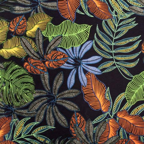 Jersey viscose bleu marine motif feuille verte jaune orange