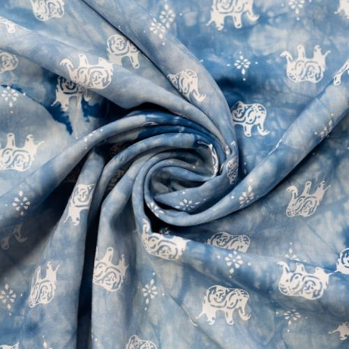 Tissu viscose tie and dye bleu imprimé éléphant