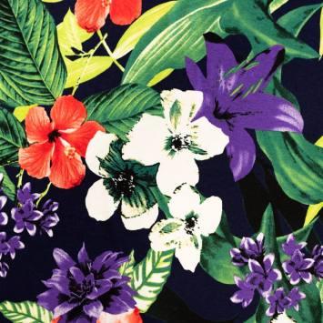Jersey viscose bleu nuit motif grosses fleurs rouges et violettes
