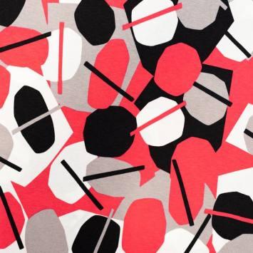 Jersey viscose écru motif rond et géométries roses et noirs